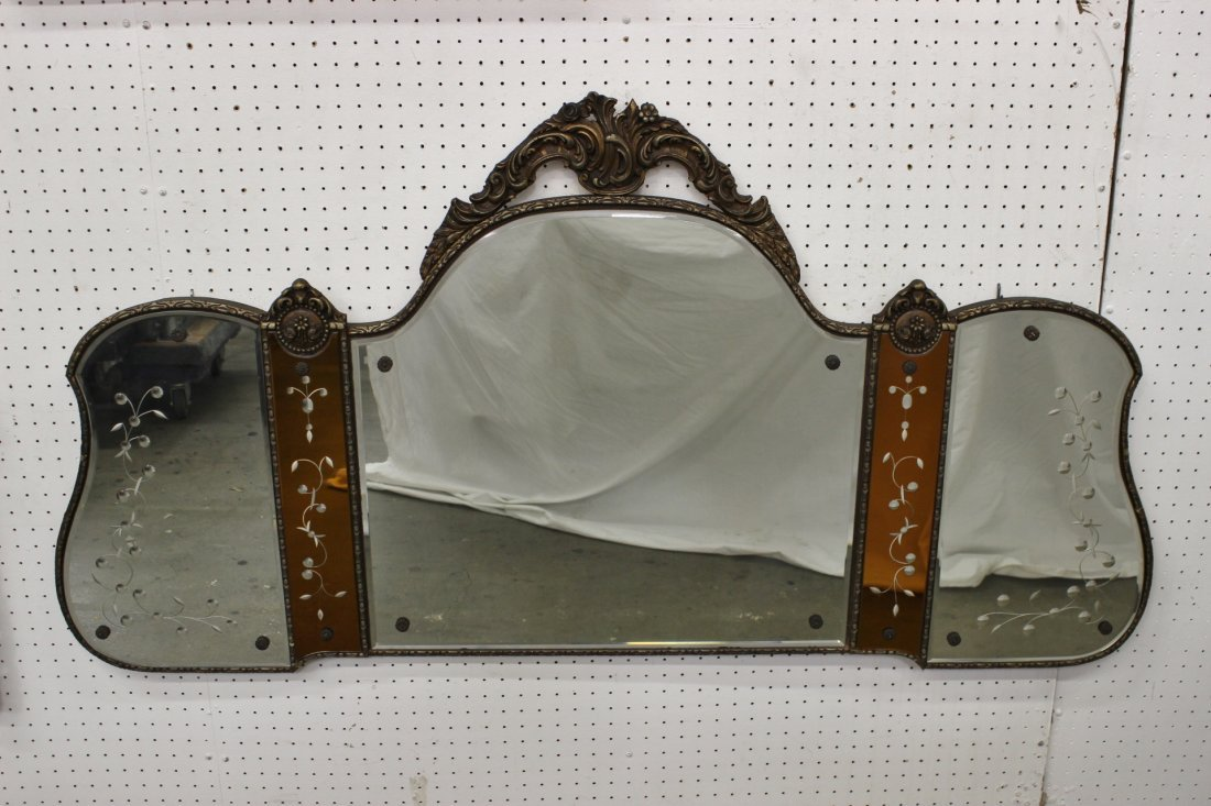 A fine art nouveau 3-panel wall mirror