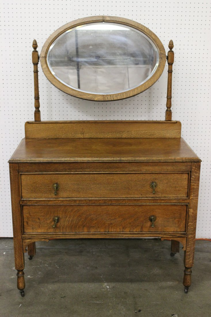 Victorian oak dresser with beveled glass mirror