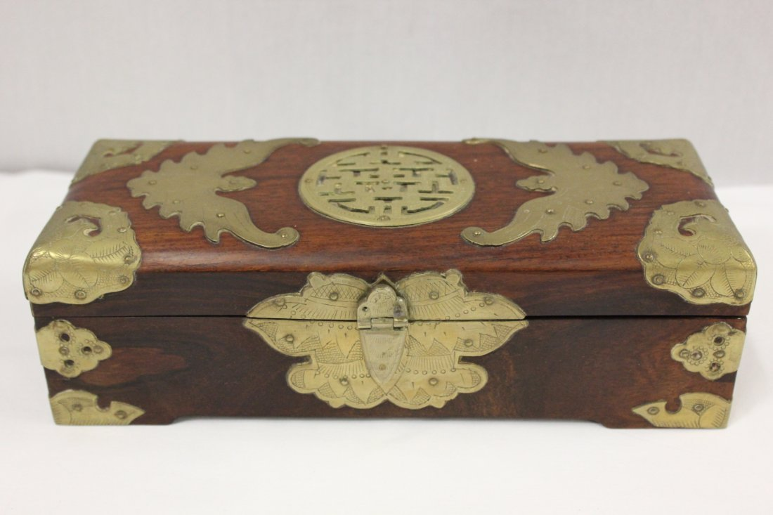 Chinese rosewood jewelry box with brass overlay