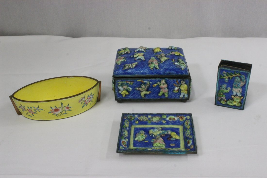 4 Chinese enamel on copper pieces