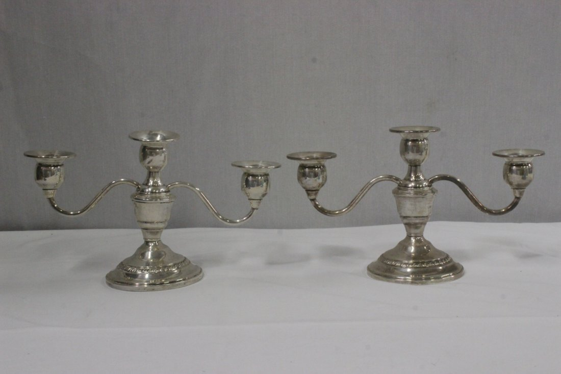 Pair weighted sterling candelabra