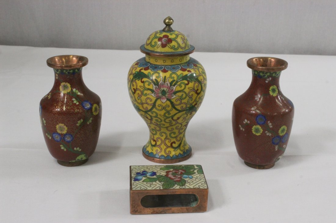 4 Chinese 19th/20th c. export cloisonné pieces