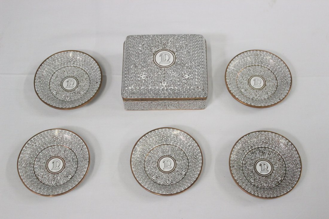 6 cloisonne on copper pieces