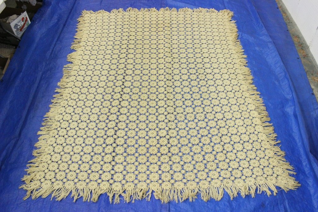 A large hand made vintage bed spread / table cloth