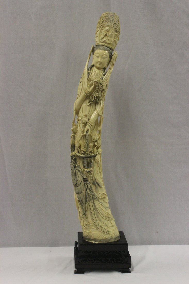 A magnificent 19th/20th c. ivory carved Guanyin