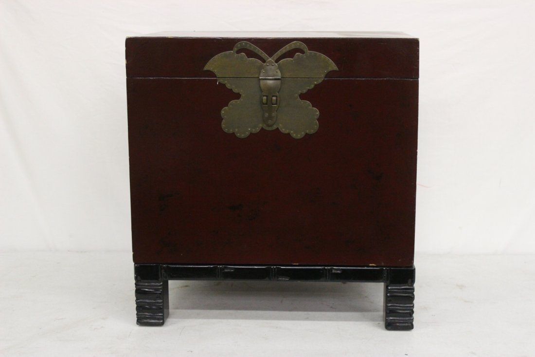 Korean lacquer storage chest with stand