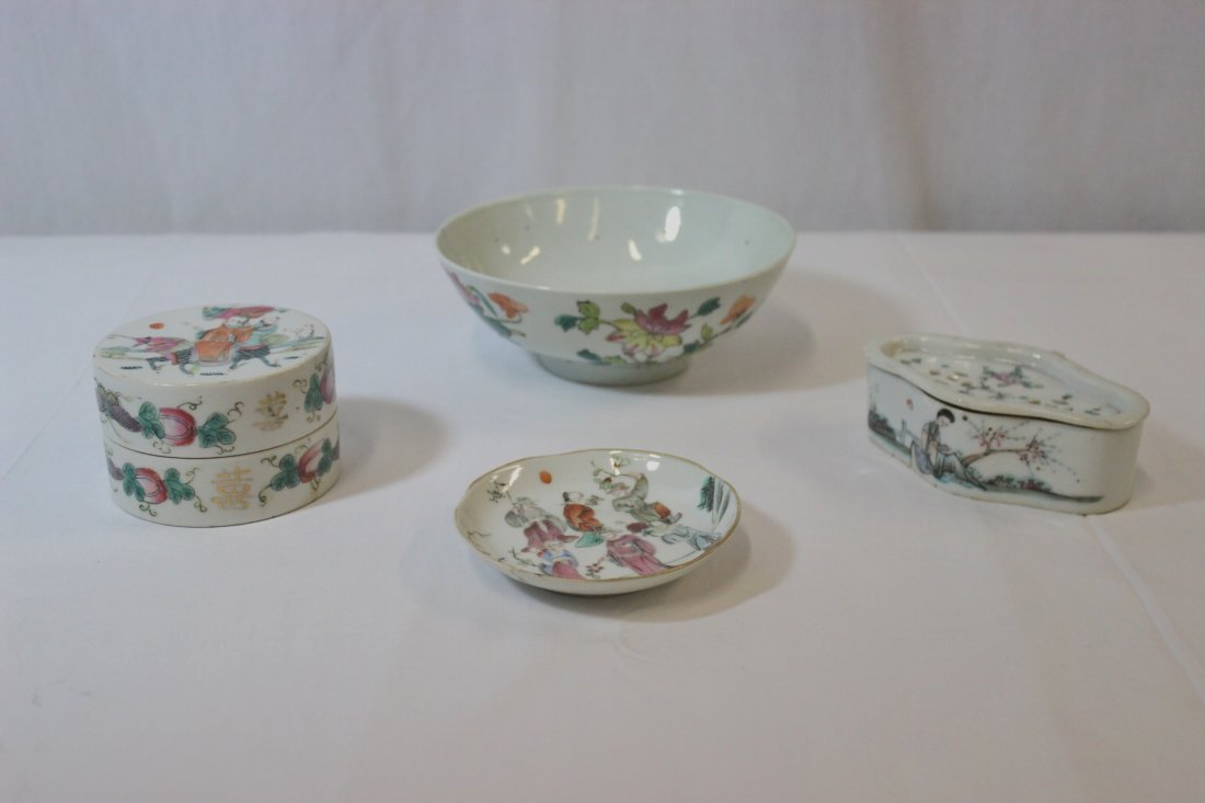 4 Chinese famille rose porcelain pieces