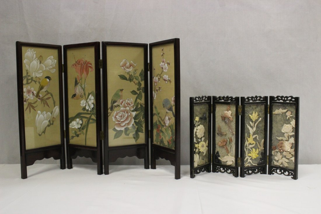 2 Chinese rosewood framed table screens