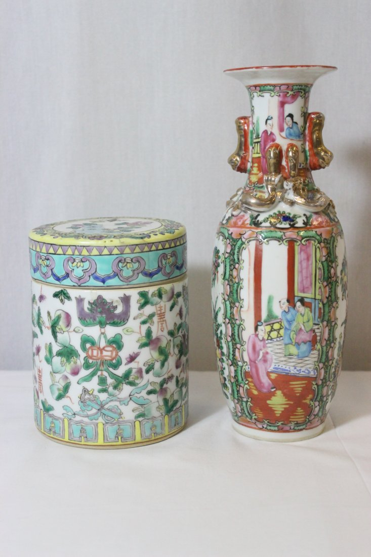 Vintage Chinese vase & a famille rose box