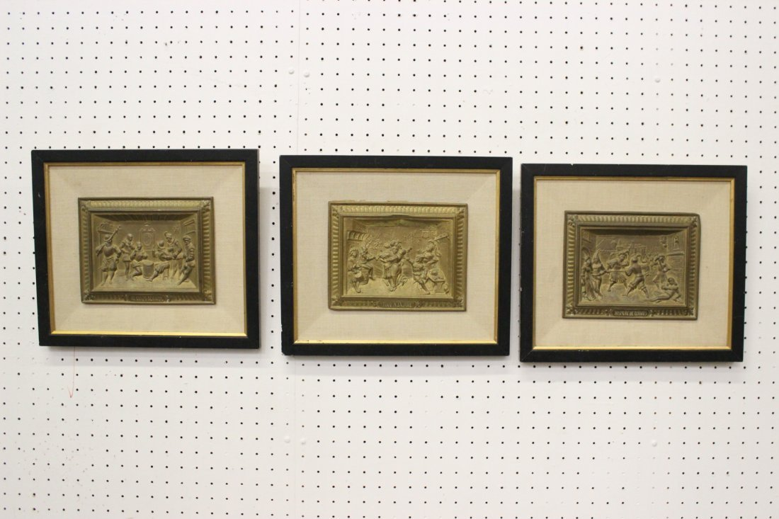 3 French repose brass wall plaques, framed