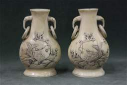 Pr 19th/20th c. Chinese ivory carved mini. vases