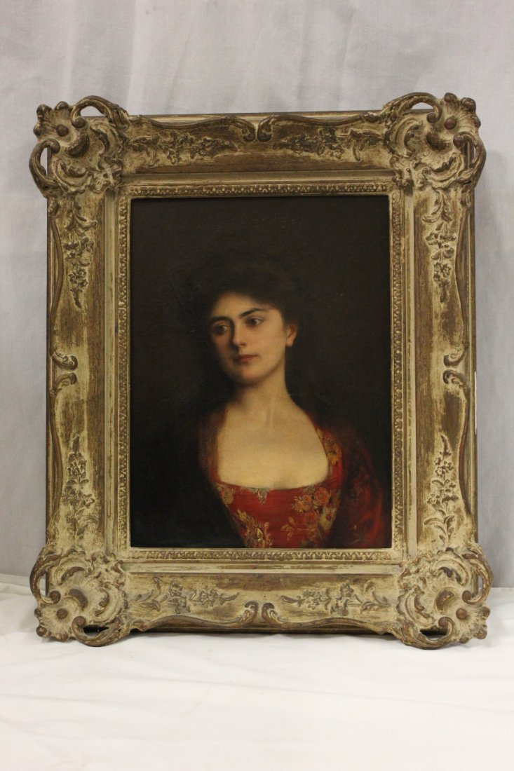 "Oil on canvas ""portrait of a lady"" by Albert Lynch"