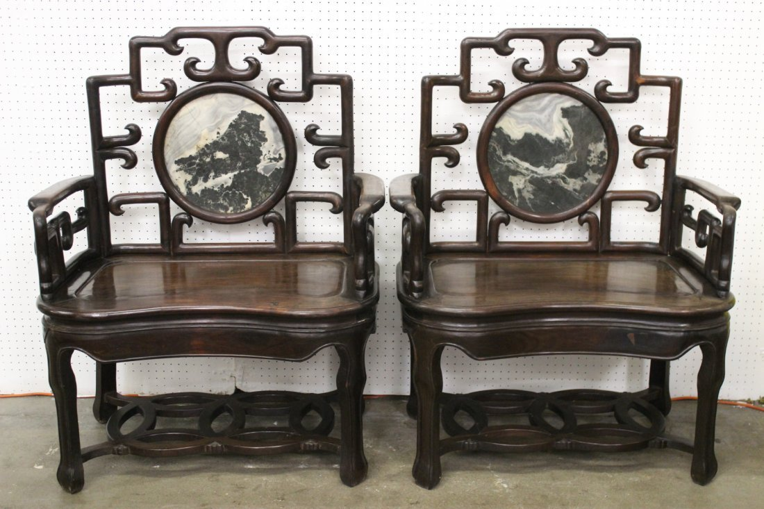 Pair Chinese 19th c. extra large rosewood armchairs