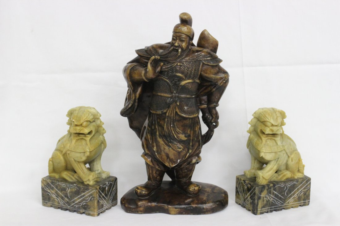 3 soap stone carvings