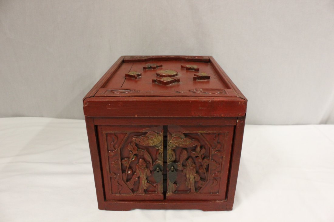 Chinese antique painted red wood storage box