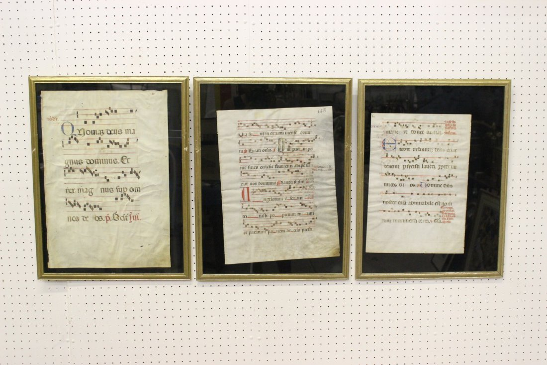 3 lg framed antique music note on parchment paper