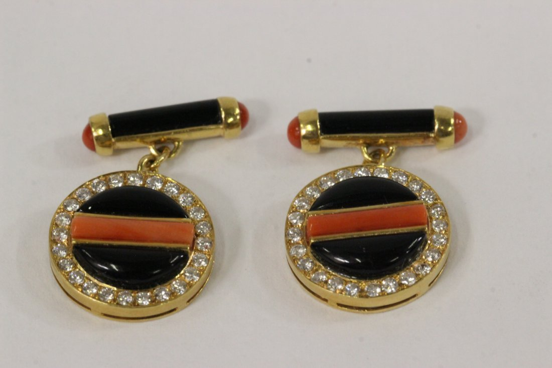 Pair 18K Y/G Cartier cufflinks