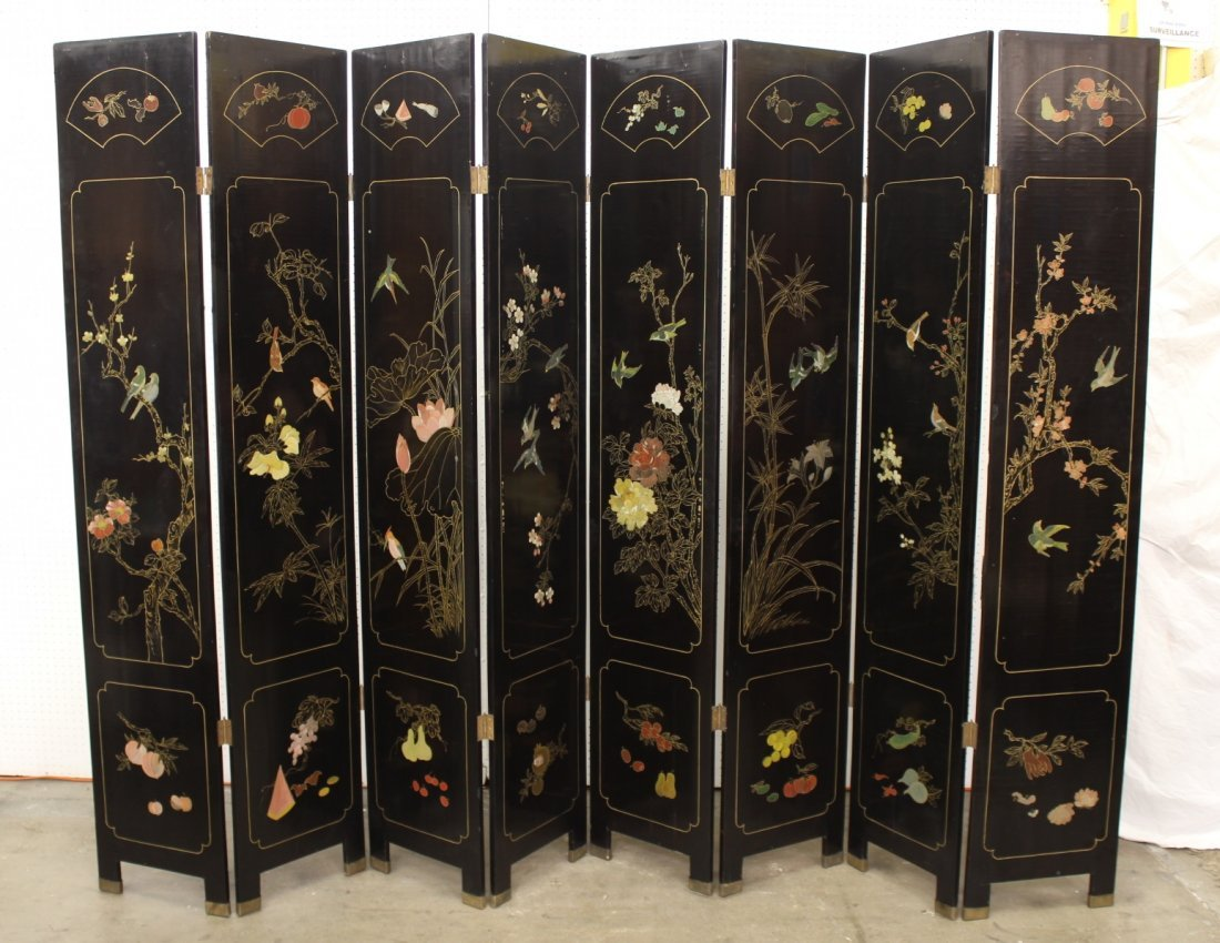 Chinese 8 panel black lacquer room divider