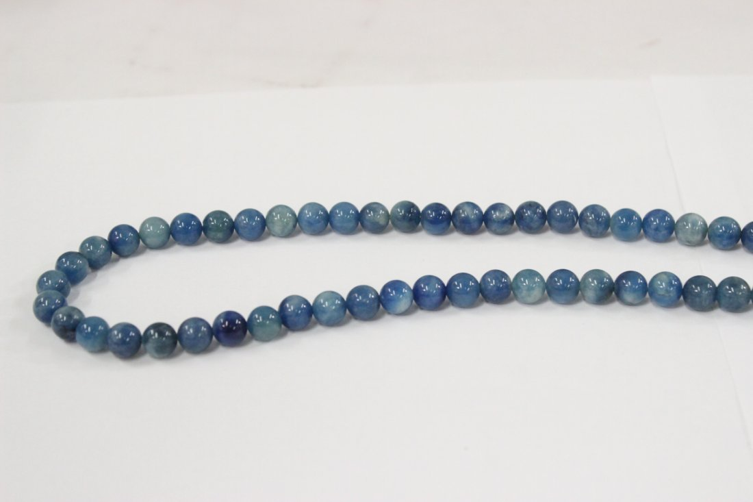 A rare Chinese blue jadeite bead necklace - 2
