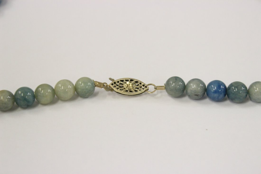 A rare Chinese blue jadeite bead necklace - 6