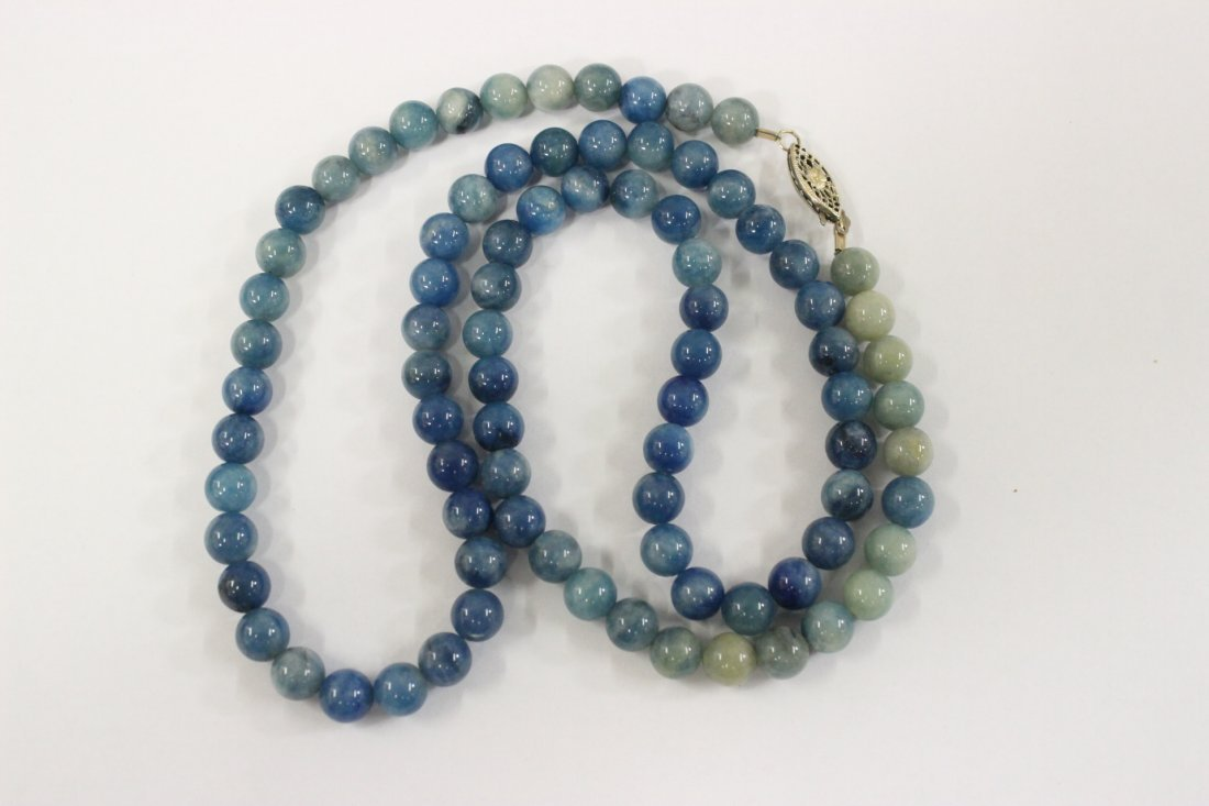 A rare Chinese blue jadeite bead necklace - 8