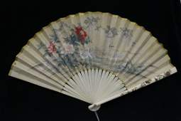 Japanese antique ivory fan with watercolor painting
