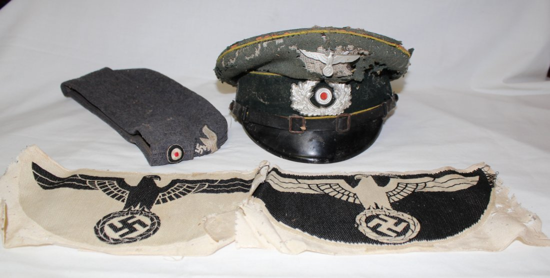 WWII German military hats & Nazi patches