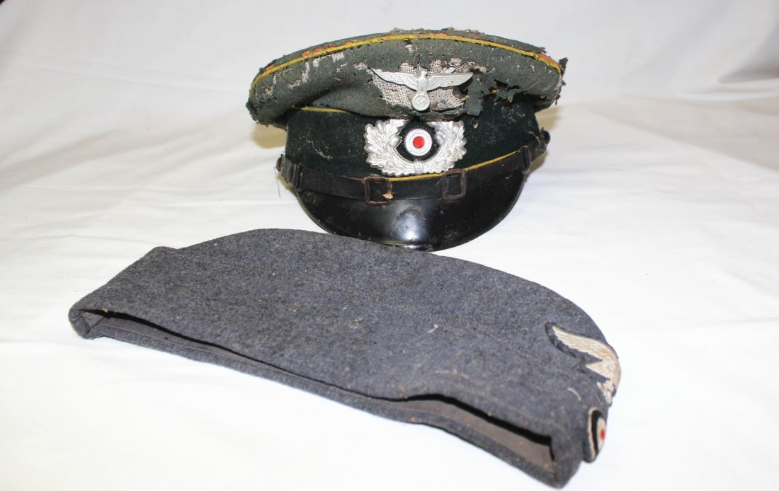 WWII German military hats & Nazi patches - 2