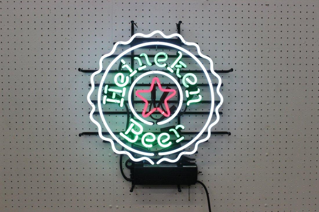"""Neon light sign of """"Heineken Beer"""""""