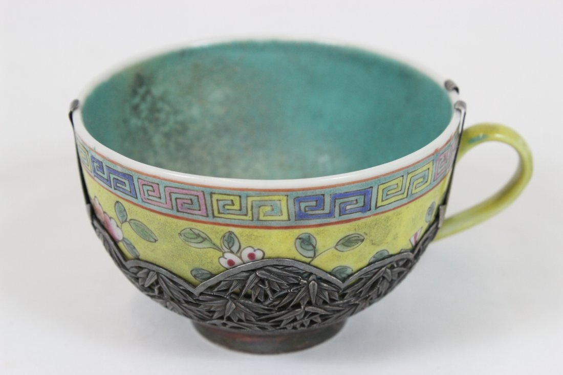 Chinese antique famille rose cup w/ silver envelop