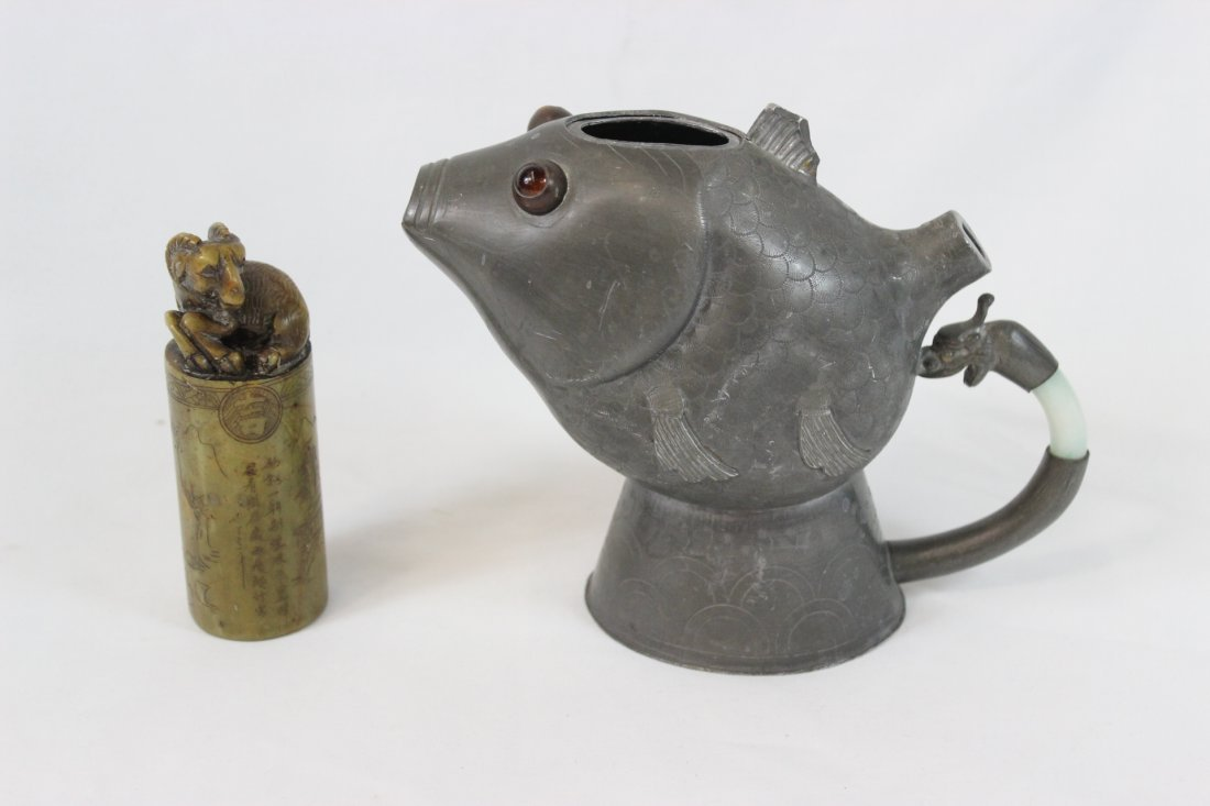 Chinese antique pewter teapot, and a seal