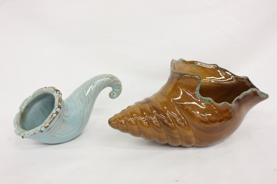Vintage cornucopia and an Anna Van Briggle bowl