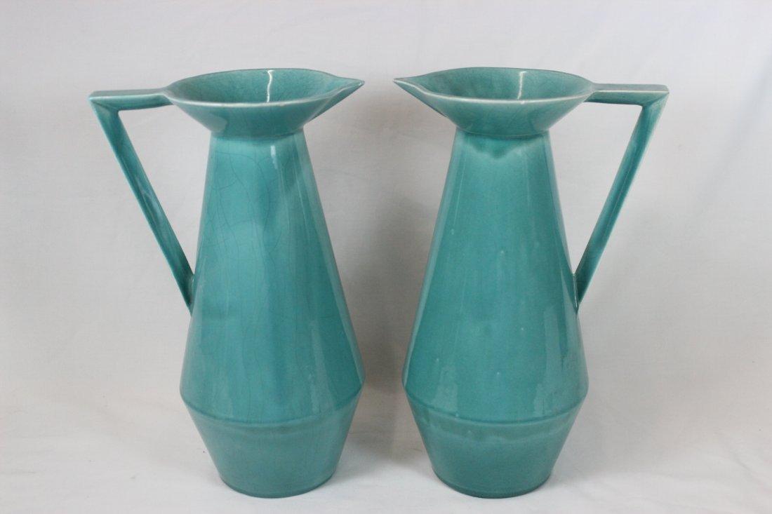 Pair Brayton's blue glazed pitcher