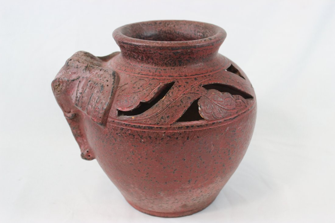 Chinese/South Asia vintage red pottery jar