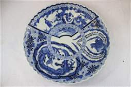 ChineseJapanese antique bw porcelain charger