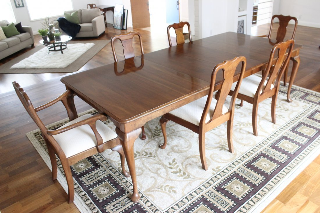 Signed Stickley cherry wood 7pc dining room set