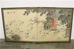 Chinese antique room divider with w/c paintings