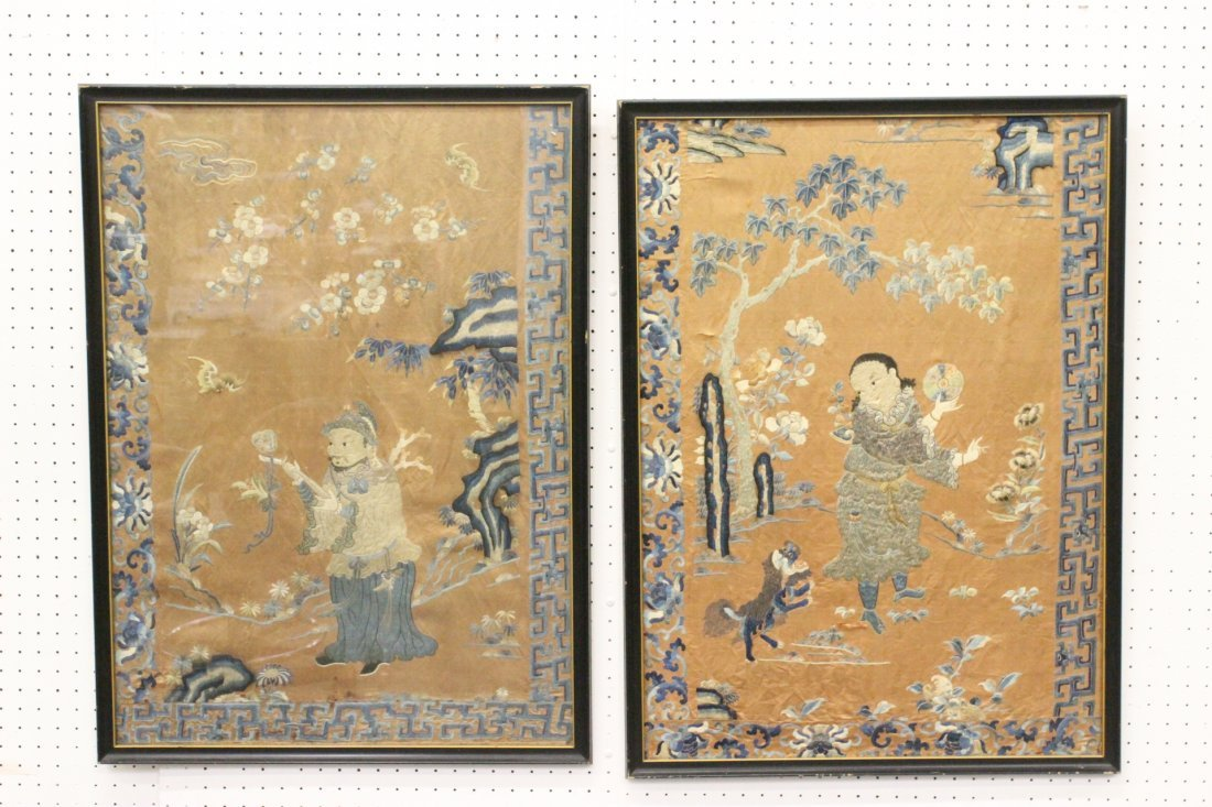 Pair Chinese framed antique embroidery panels