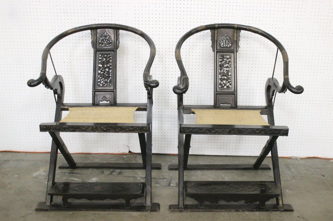 Pr Chinese antique rosewood folding chairs