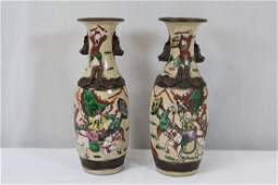 Pr Chinese antique crackle ware porcelain vases