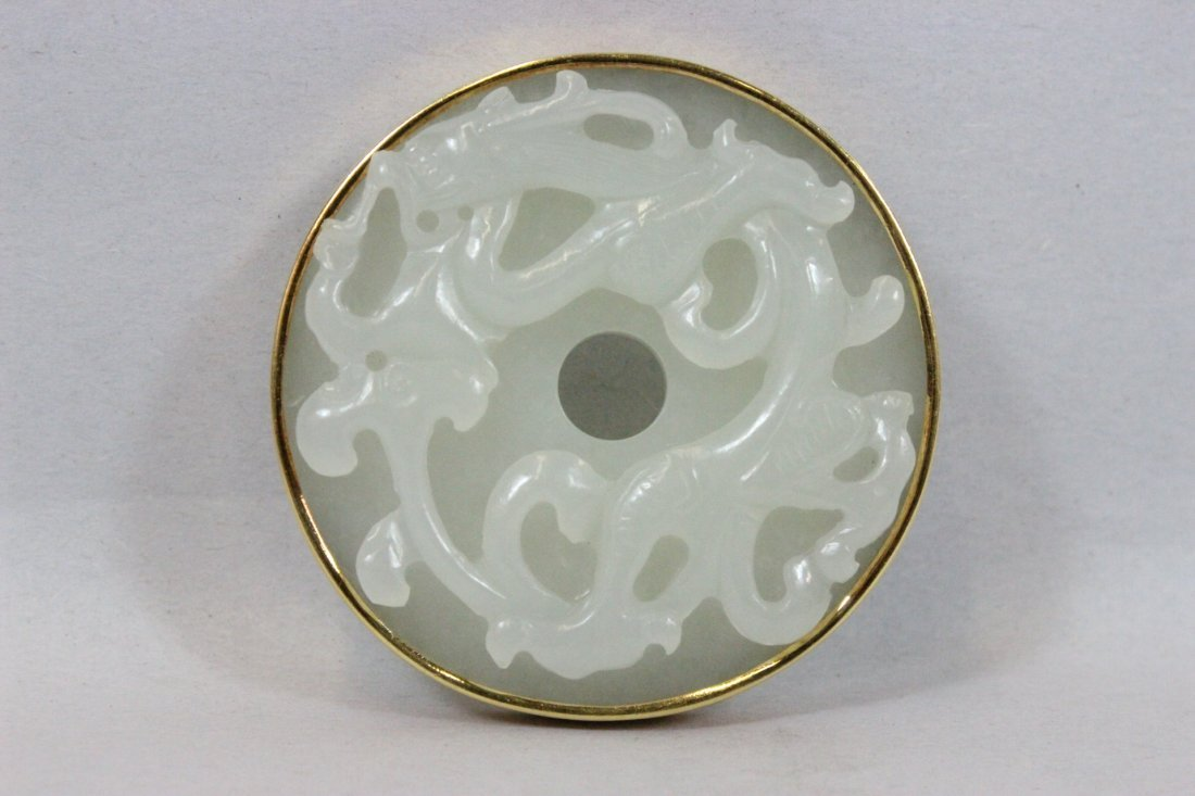 Chinese antique white hetian jade pei w/18K bezel