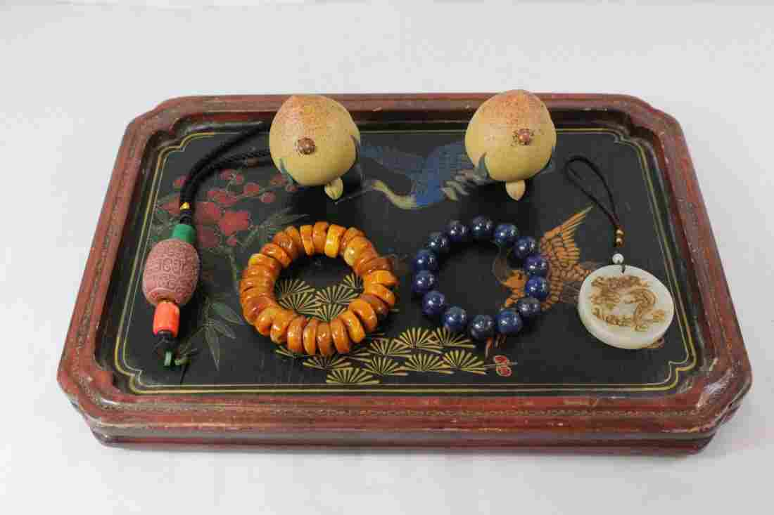 A lacquer tray with 6 misc. items