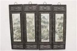 Set of 4 framed hand painted porcelain plaques