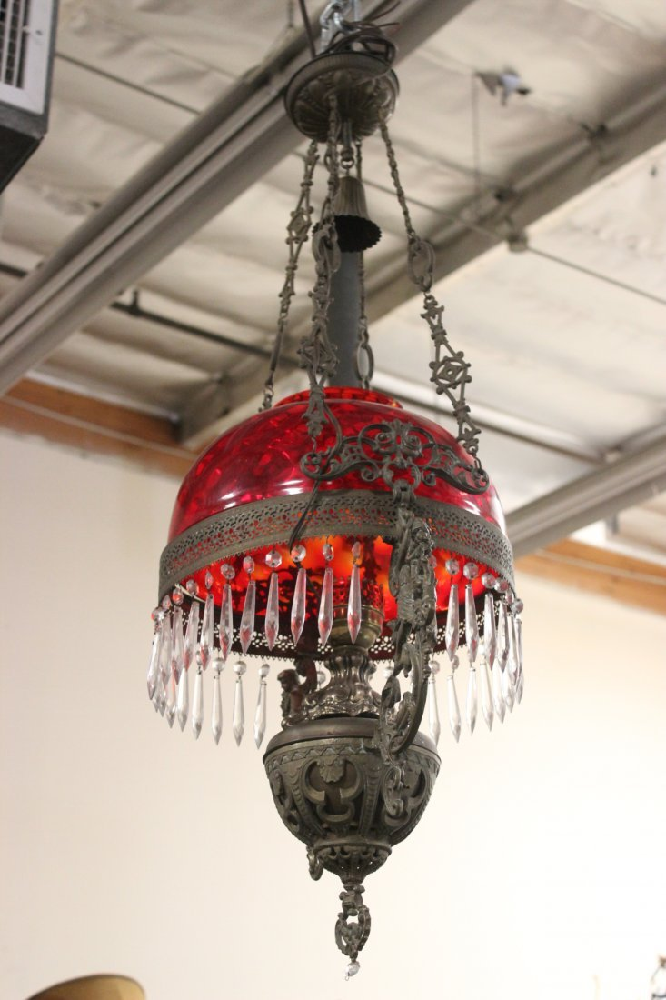 Victorian ceiling light with smoke catcher
