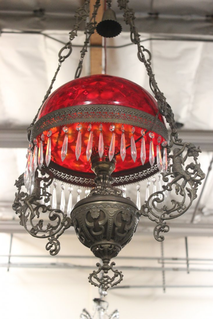 Victorian ceiling light with smoke catcher - 3