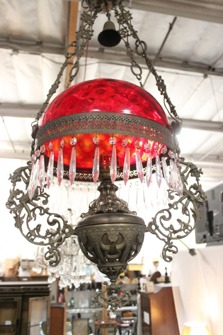 Victorian ceiling light with smoke catcher - 8