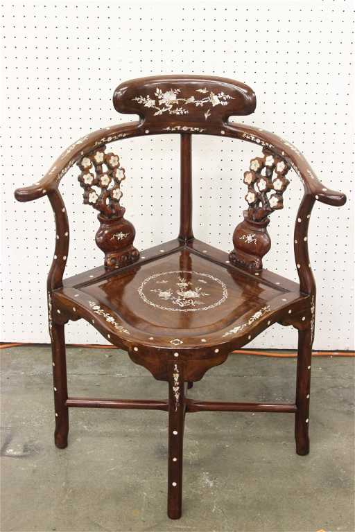 - Rosewood Corner Chair With Mother Of Pearl Inlaid