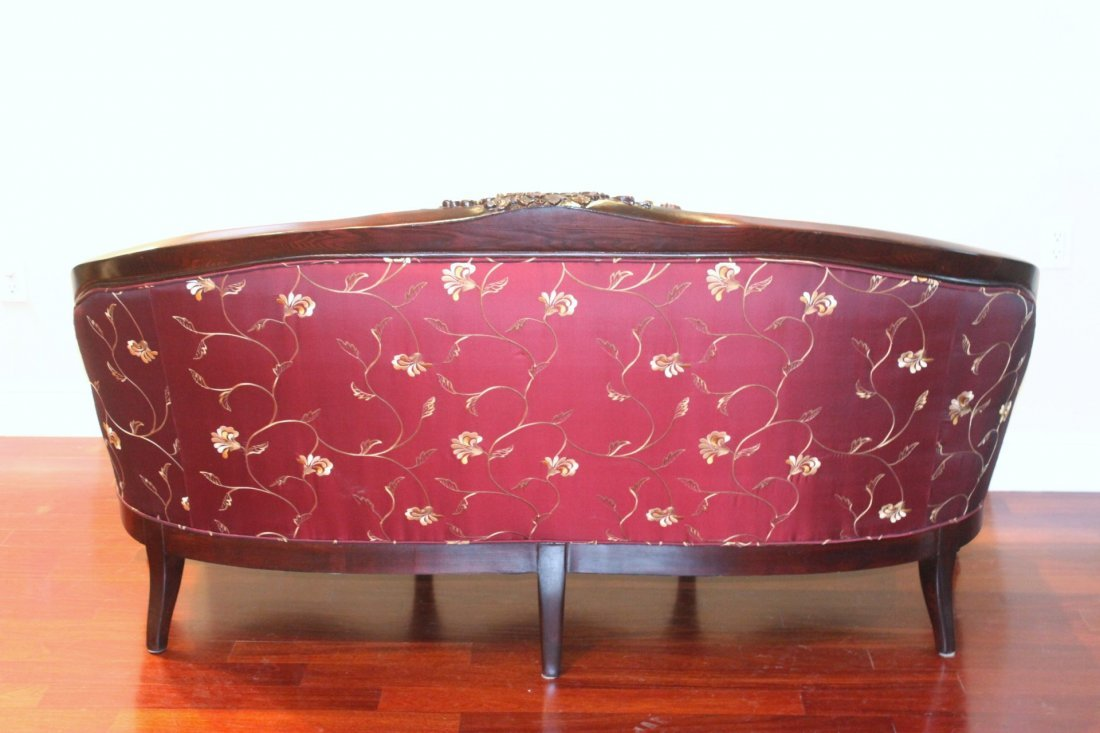 oak framed couch with silk brocade upholstery - 10