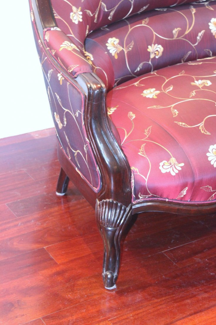 oak framed couch with silk brocade upholstery - 7