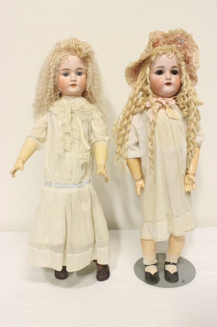 2 antique Germany bisque head dolls by Simon Halbig